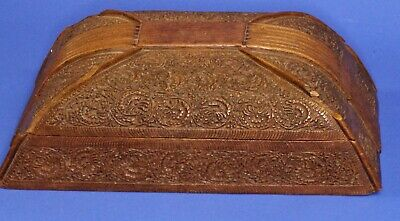 Antique Vintage India? Carved Trinket Jewellery box DAMAGED 21x12x6cm *[17579]