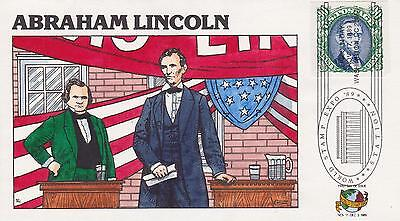 1989 FRED COLLINS HAND-PAINTED FDC ABRAHAM LINCOLN -WORLD STAMP EXPO CANCEL 4