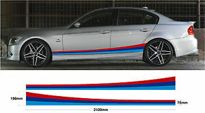 2x-Car-decal-graphic-side-stripes-BMW-M-sport-E30-E36-E39-E46-E60-E90-M3-M5