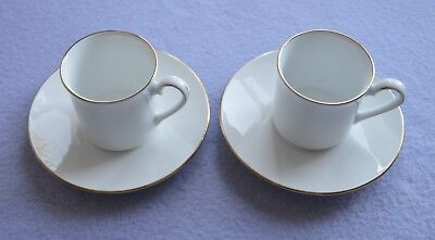 A Pair of English Crownford Queen's Fine Bone China Coffee Cups & Saucers