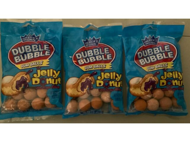 Lot of 3 Dubble Bubble Gum - Jelly Donut with Grape Filling Gumballs