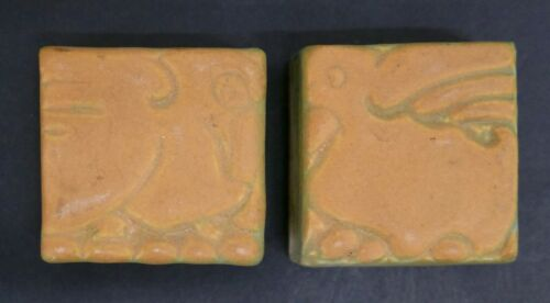 Batchelder Small Glazed Tiles with Pelicans California Set=2