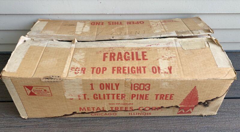 Vtg 50s 6 Ft. ALUMINUM Christmas TREE Alcoa METAL TREES CORP w/ BOX Glitter Pine