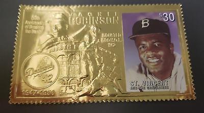 St. Vincent 1997 - Jackie Robinson Baseball Hall of Fame - Gold Stamp - MNH