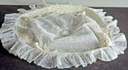 Antique Lace Round Pillow Cover Sham with Irish Crochet VV356