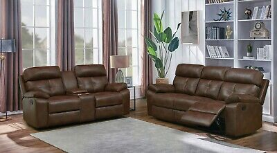 CHOCOLATE BROWN LEATHERETTE RECLINING SOFA & LOVESEAT LIVING ROOM FURNITURE SET Chocolate Reclining Sofa