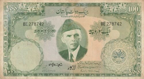 Vintage Pakistan 100 Rupees Large Banknote 1957-1967 Pick 18 Old Paper Money