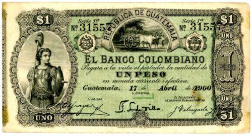 Guatemala ... P-S121b … 1 Peso … 1900 … *VF-XF*.