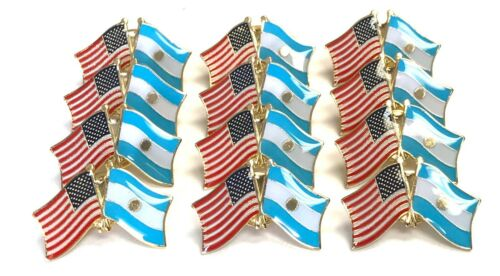LOT OF 12 Argentine Friendship Flag Lapel Pins - Argentina Flag Pin