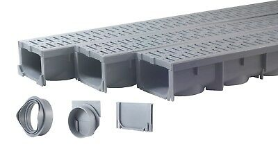 Drainage Trench, Channel Drain With Grate, Gray Plastic - 3 x 39