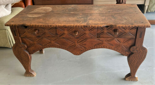 Antique Vtg Carved Wood Primitive Rustic Nahuala Console Sideboard Table WE SHIP