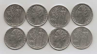 ITALY - 8 x 100 LIRE COINS (Different Dates)
