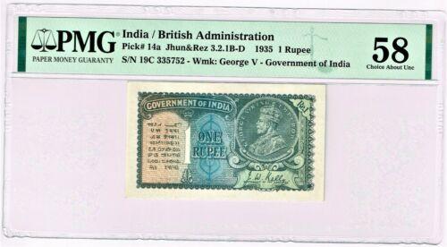 India: 1 Rupee 1935 Pick 14a Jhun3.2.1B-D, PMG Choice About Unc 58.