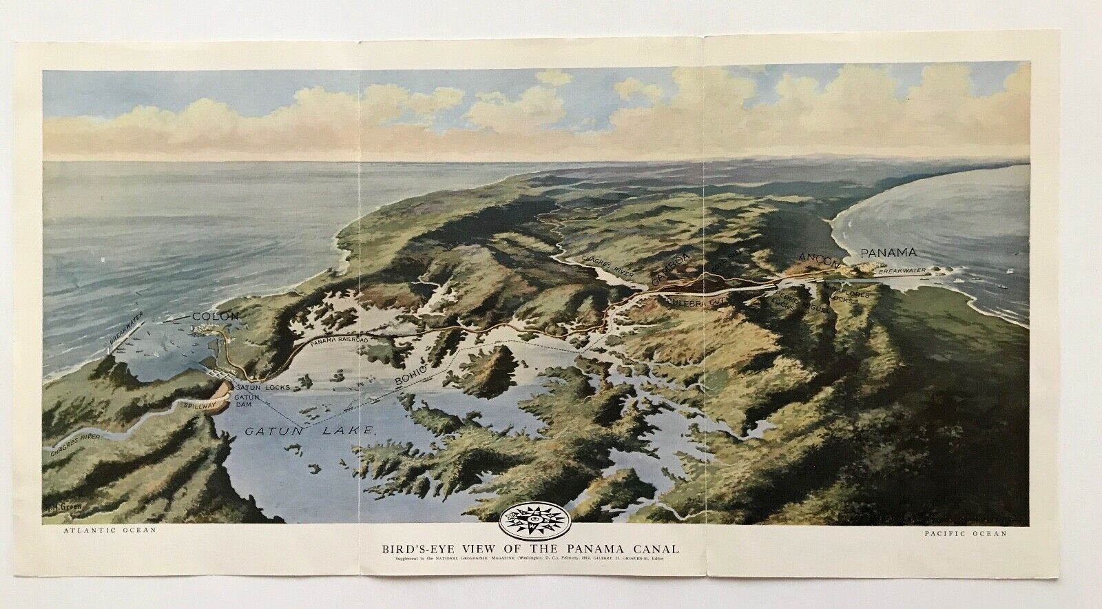 1912 Bird s-Eye View Of The Panama Canal Fold-out - 3D View - $8.00