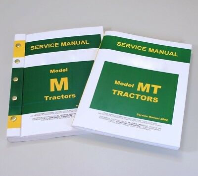 Service Manual Set For John Deere Mt Tricycle M Tractor Repair Technical Shop