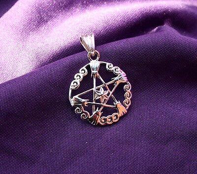 Anhänger Pentagramm Hexenbesen  * * Zinn versilbert