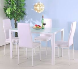New White 2 Dining Chairs Faux Leather High Back