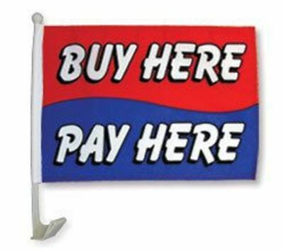 """12x18 Buy Here Pay Here Red White Blue Car Vehicle 12""""x18"""" Polyester Flag"""