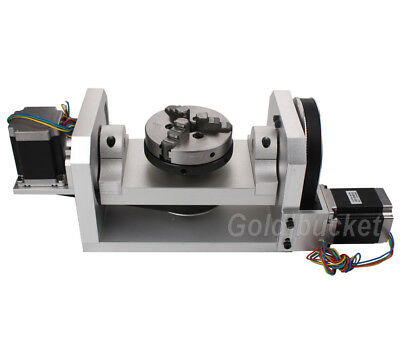 Cnc Router Rotary Table Rotational Axis 4th 5th Axis A C Axis 100mm Chuck 3 Jaw