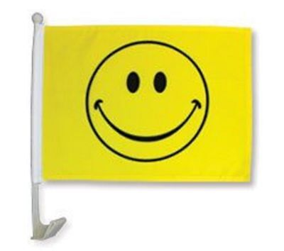 """12x18 Wholesale Lot 12 Yellow Smiley Happy Face Car Vehicle 12""""x18"""" Poly Flag"""