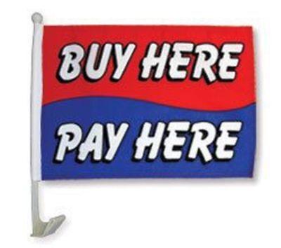 "12x18 Wholesale Lot 12 Buy Here Pay Here RWB Car Vehicle 12""x18"" Poly Flag"