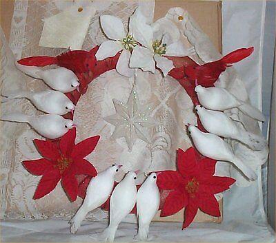 """Christmas Wreath Doves + Cardinals Birds Pointsettias 12"""" Holiday Decor Door"""