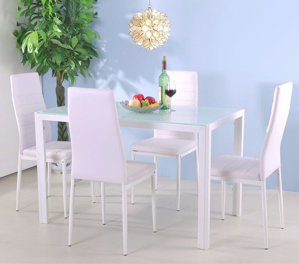 SALE! Glass&Metal Dining Table and Chairs Modern Home Kitchen Furniture Dining Room Table andChairs