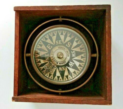 Antique John Bliss & Co.Nautical Dry Card Ships Compass In Box New York