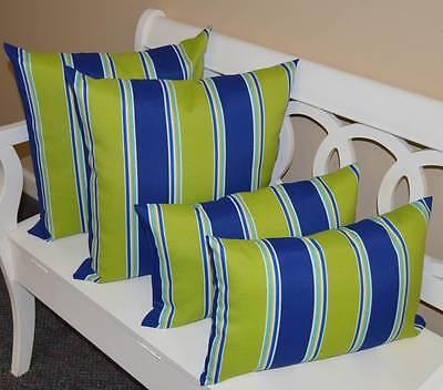 Blue Striped Toss Pillow - 4 Pk - Green Blue Stripe Decorative Lumbar Toss Pillows In / Outdoor Made In USA
