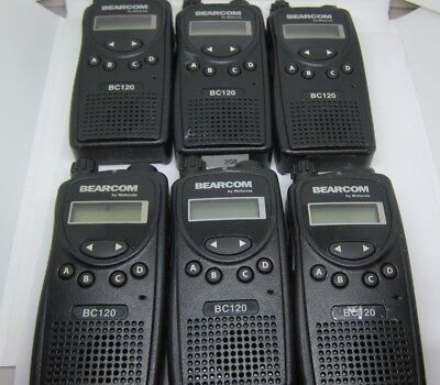 Lot Of 6 Motorola Bearcom Bc120 Uhf Two Way Radio Aah49rcf8aa1ab Uhf