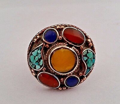NEPALESE ARTISAN HANDMADE TURQUOISE CORAL LAPIS SILVER PLATED  RING SIZE 7-1/2