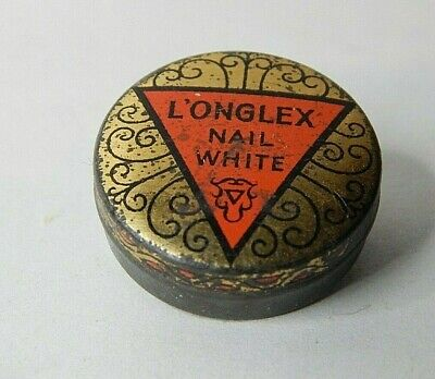 Antique Tiny Art Deco L'onglex Nail White Cosmetics tin early 20th century
