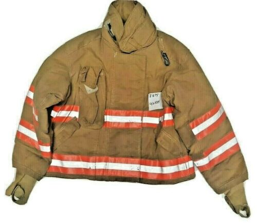 42x34 Quaker Brown Firefighter Turnout Jacket with Orange Reflective Tape J875