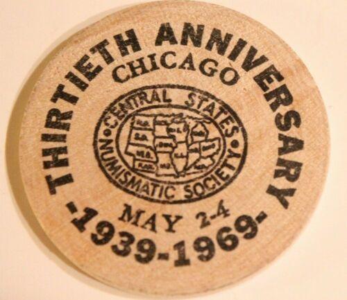 Vintage Chicago Illinois Wooden Nickel Golden Anniversary 1969