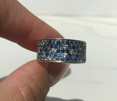 Sterling Silver Sunglasses - Sterling Silver Multi Color White & Shades of Blue Sapphire Band Ring