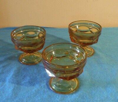 Amber Ice Glass Bowl - 3 Fairfield Anchor Hocking Amber Glass Thumbprint Sherbet Dessert Ice Cream Bowl