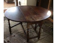 Drop leaf solid oak oval table