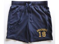 GENUINE ABERCROMBIE & FITCH MENS NAVY BLUE A&F SHORTS , 2 POCKETS , PULL TIES , SIZE SMALL £10