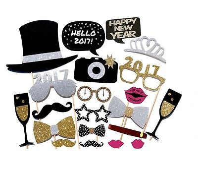 21PCS 2017 New Year's Eve Party Card Masks Photo Booth Props Mustache US SHIP