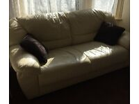 Two cream leather sofas for sale in good condition