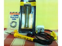ANTEX 18W SOLDERING IRON + STAND + SOLDER PACKAGE ( NEW AND UNUSED ) - for £ 25