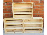 1-5 amazing wooden natural Crates with two shelves (short or long)