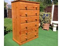 Pine chest of SIX DRAWERS A TALL SET