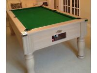 7FT MONARCH SLATE BED POOL TABLE IN BEECH WOOD WITH GREEN CLOTH.