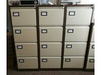 Bisley 5 x Beige/Creame 4 Drawer Lockable Metal Filing Cabinet + 500 Suspension Files & 10 Keys
