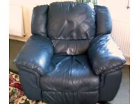 TODAY ONLY ** £39 ** LARGE HEAVY DUTY RECLINING SOFA MADE WITH SOFT REAL LEATHER HIDE NOT PIG SKIN