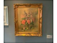 Vintage Oil on Canvas Painting Still Life 'Flowers in a Waisted Glass Vase' Signed C. Hill