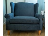 Teal velvet cuddle chair from Next excellent condition