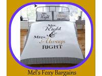 Mr Right & Mrs Always Right Duvet Set-New