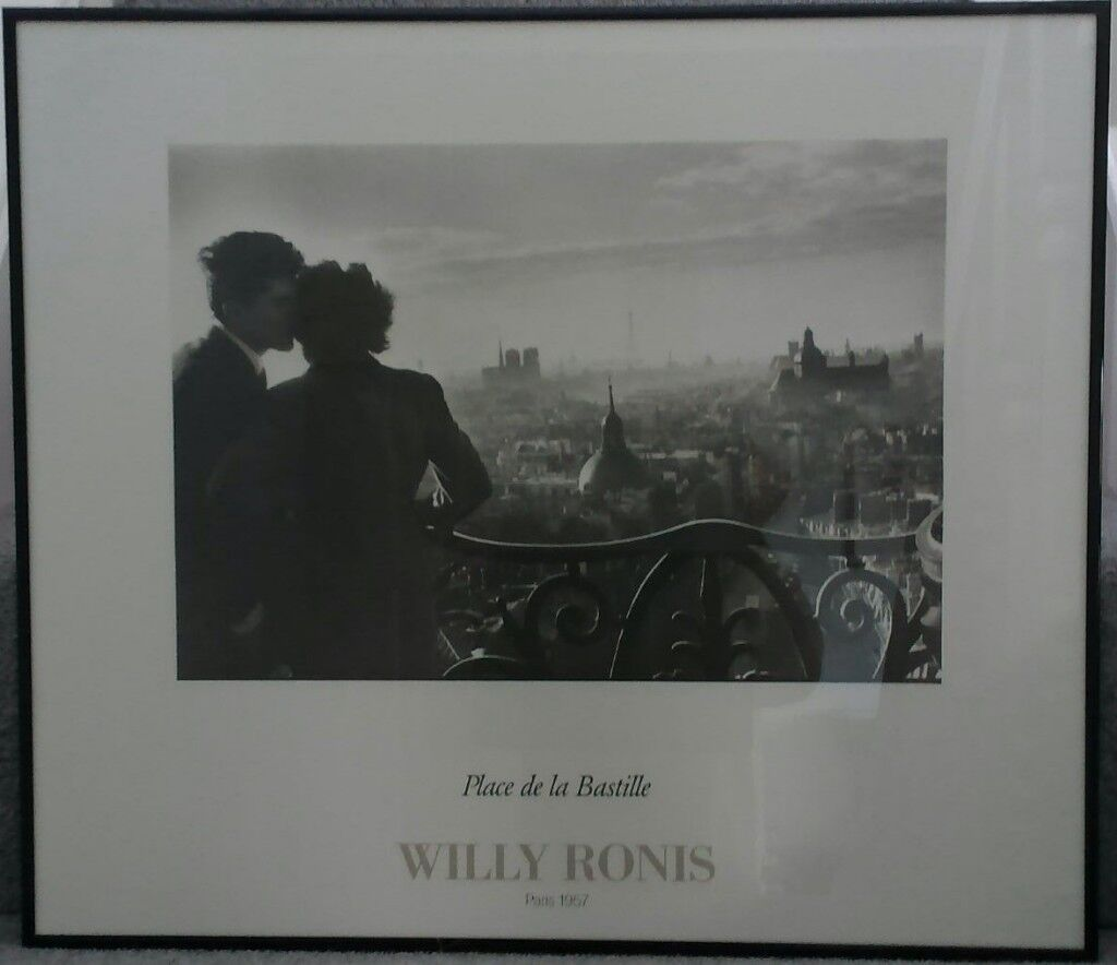 Large Framed Black White Art Photograph Of Paris By Willy Ronis In